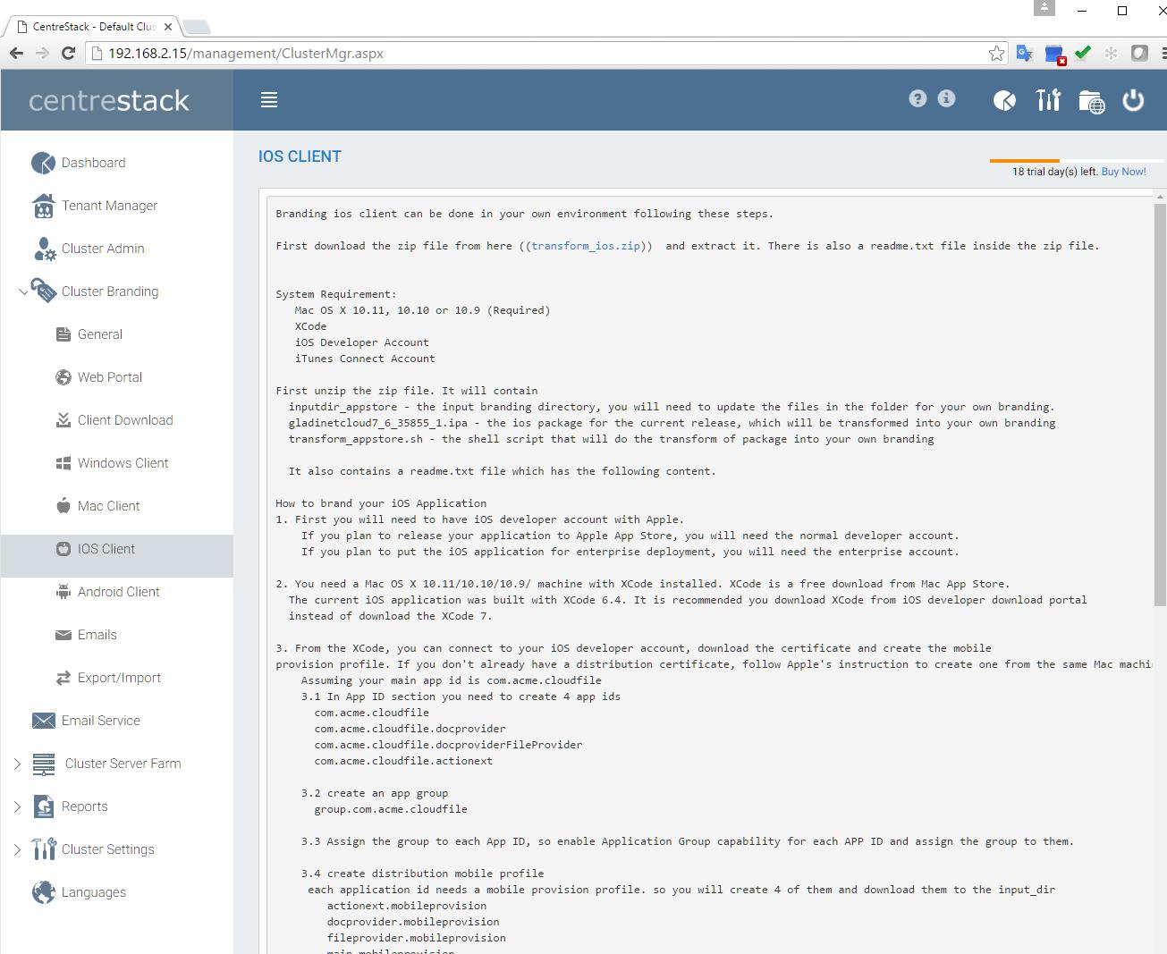Cluster Administration — CentreStack Administration Guide