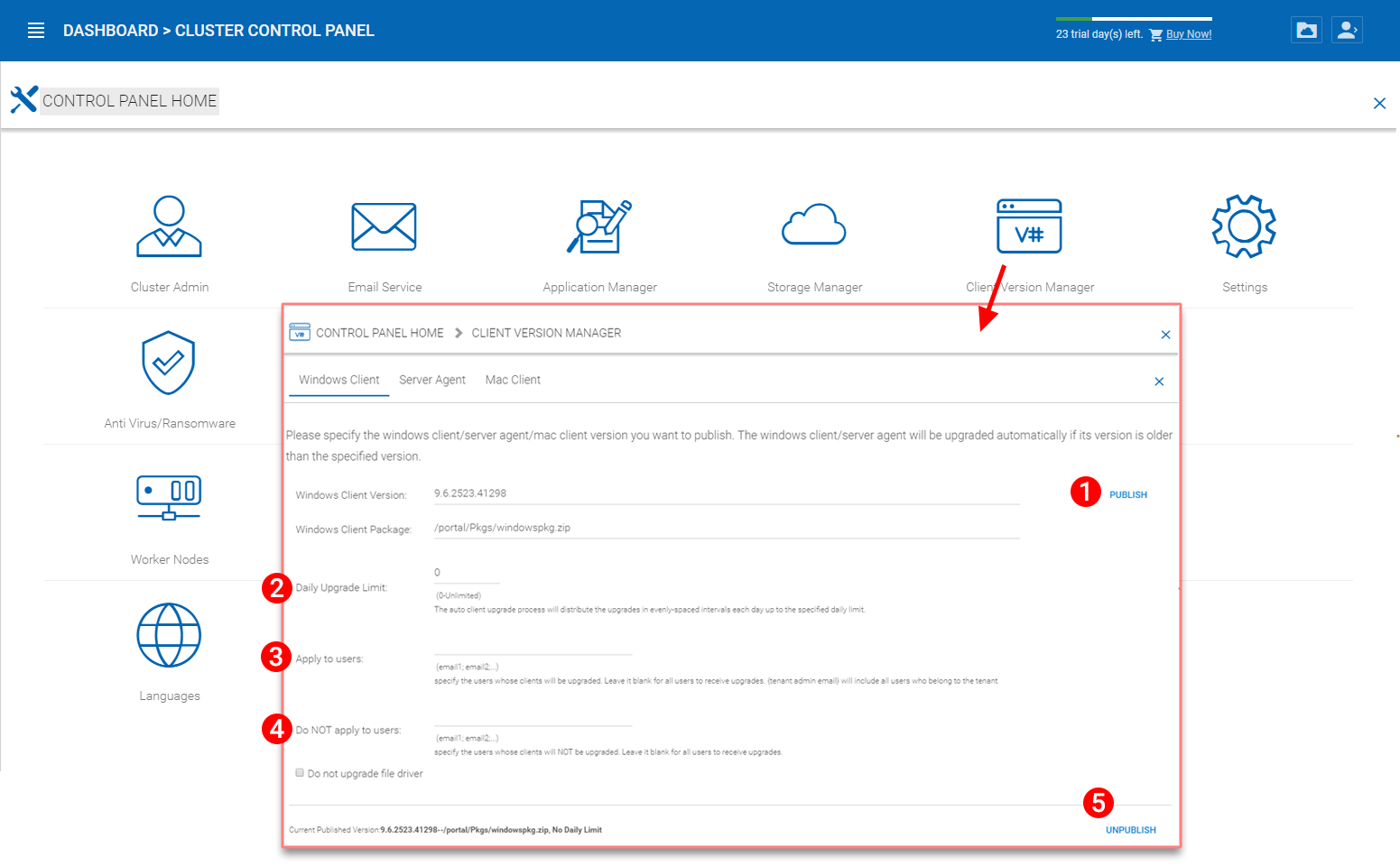 4 Cluster Administration — Administration Guide 10 6