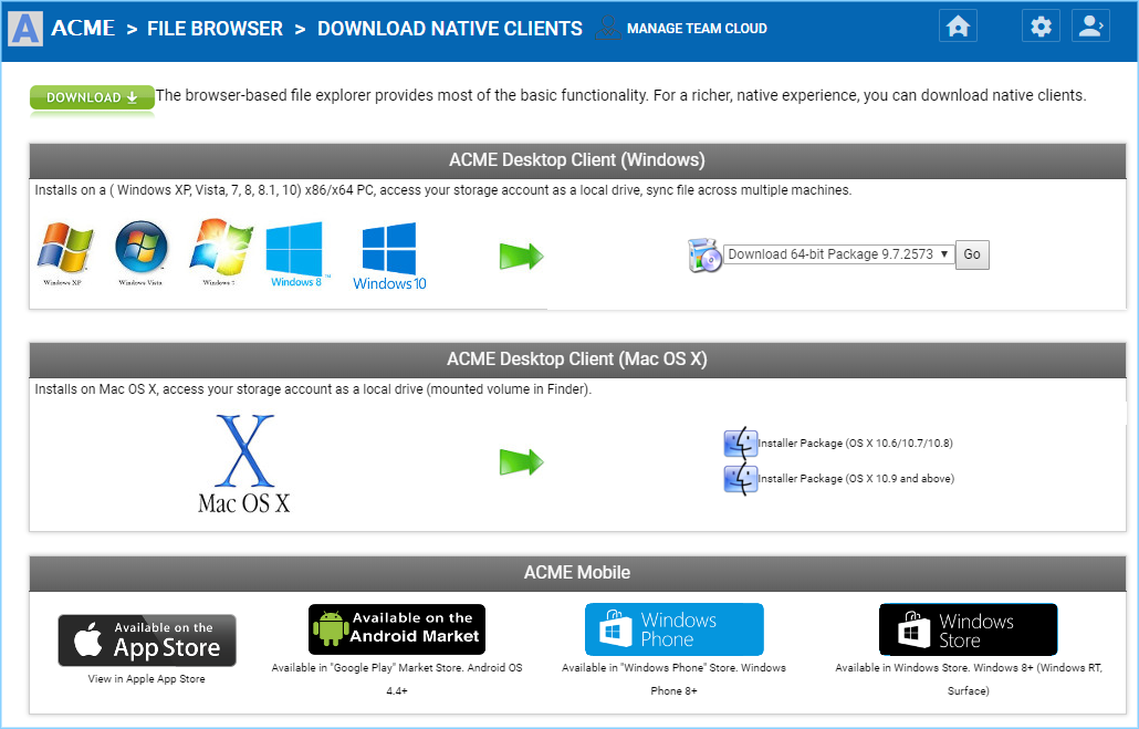 Client Agent Software and Downloads — Web Portal User Guide